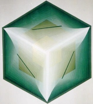 238 - Revolving squares Nr. XII in green and white [60x60]